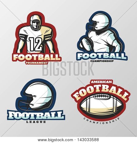 American football tournaments logos with players and sports equipment on grey background isolated vector illustration