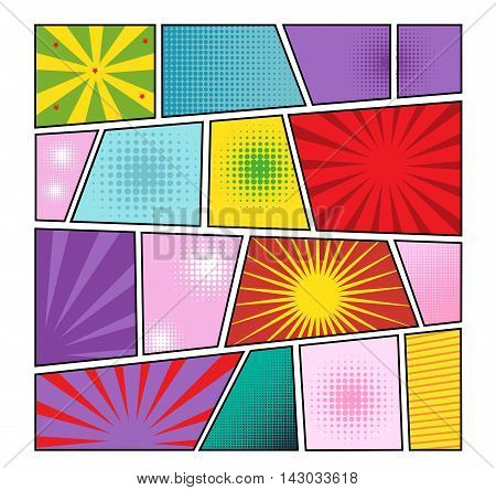 Comics page background with colorful frames of individual design with separate dots pattern and sunbeams vector illustration