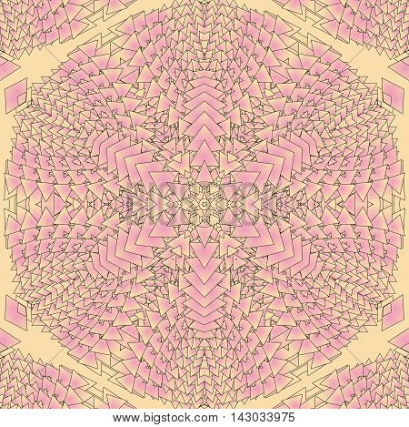 Kaleidoscopic pink pattern. The image is computer graphics created using various programs. It can be used in the design of your site design textile printing industry in a variety of design projects.