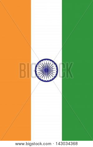 The National Flag of India. Vertical rectangular tricolor of deep saffron white and green with Ashoka Chakra in navy blue in center. Proper proportions and colors. Vector illustration in eps8.
