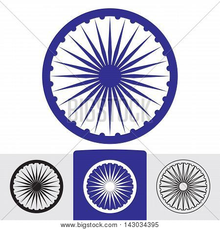 Ashoka wheel with 24 spokes. Indian symbol. Vector eps8 sign in various colors.