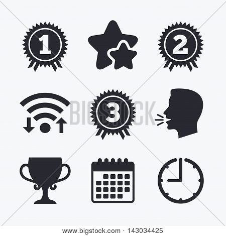 First, second and third place icons. Award medals sign symbols. Prize cup for winner. Wifi internet, favorite stars, calendar and clock. Talking head. Vector
