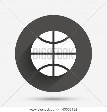 Basketball sign icon. Sport symbol. Circle flat button with shadow. Vector