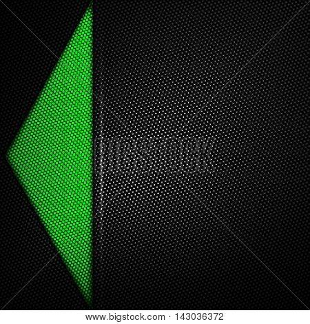 green carbon fiber background. 3d illustration material design. racing style.