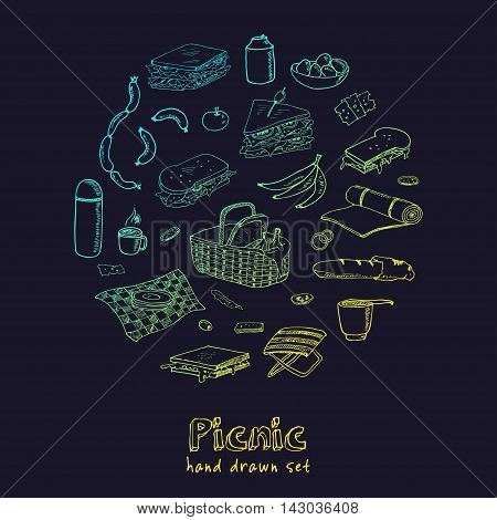 Summer picnic doodle set. Various meals, drinks, objects, sport activities. Vector illustration isolated over white background.