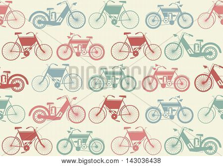 Cute seamless pattern with colorful retro bicycle. Stylish template can be used for background, textile ,cover and more creative designs