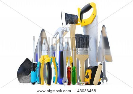 Tools. Isolated on white. Skrewdriver, hammer handsaw and wrench