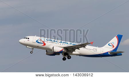 The Moscow region - 31 July 2016: Large passenger plane Airbus A320-214 Ural Airlines takes off and takes place in Domodedovo airport July 31 2016 Moscow Region Russia