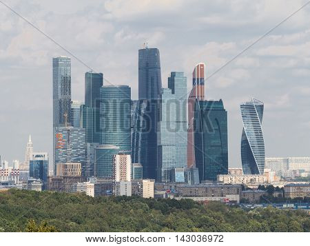 Moscow - August 11 2016: View from the observation deck on the Sparrow Hills to unusual skyscrapers of Moscow City August 11 2016 Moscow Russia