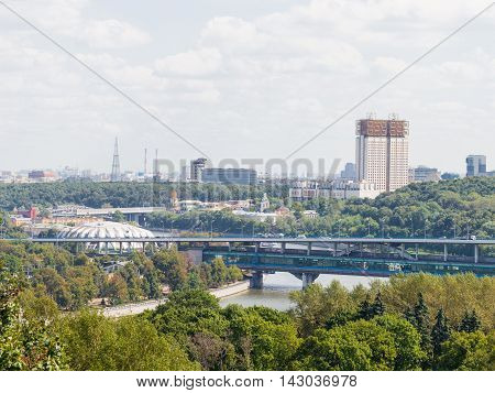 Moscow - August 11 2016: View from the observation deck on the Sparrow Hills and Shukhov Tower and the Academy of Sciences building away August 11 2016 Moscow Russia