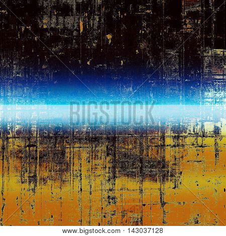 Retro style background with grungy vintage texture and different color patterns: yellow (beige); brown; black; blue; red (orange); cyan