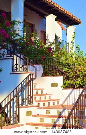 Spanish style outdoor stairs taken at a courtyard in a hacienda villa