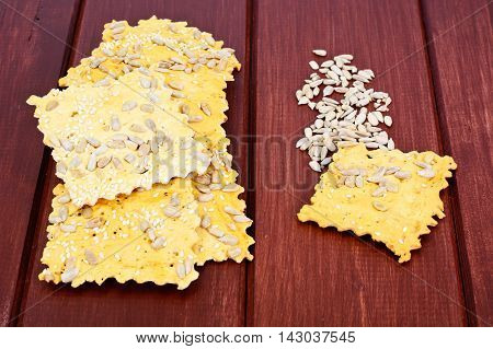 Salty Crackers with Sunflower Seeds Studio Photo