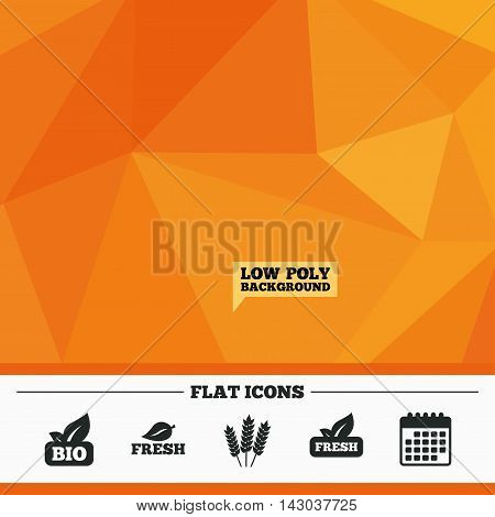 Triangular low poly orange background. Natural fresh Bio food icons. Gluten free agricultural sign symbol. Calendar flat icon. Vector