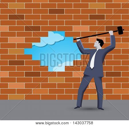 Breaking the wall business concept. Confident businessman in business suit with sledgehammer in grey regulated world trying to break the wall of rules and to find new shining opportunities
