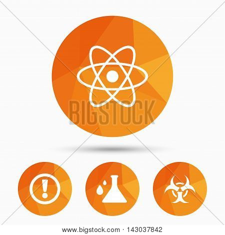 Attention and biohazard icons. Chemistry flask sign. Atom symbol. Triangular low poly buttons with shadow. Vector