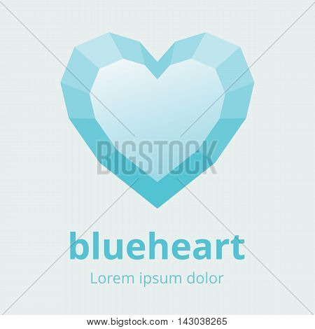 Faceted heart symbol. Polygonal multifaceted heart icon. Blue heart with faces design element. Vector illustration in EPS8.