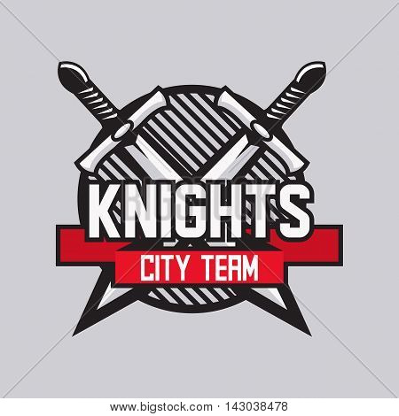 two crossed swords with ribbon for text isolated vector sport team emblem template.