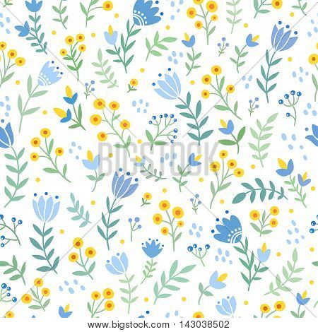 Vector seamless illustration with wild flowers and tulips. Floral pattern.
