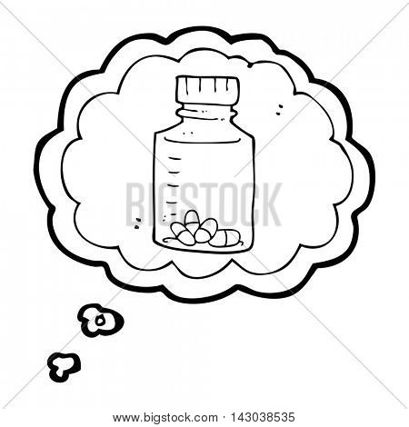 freehand drawn thought bubble cartoon jar of pills