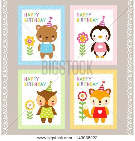 Holiday stamps with animals. Cards with animals in cartoon style. Vector illustration of children s wildlife. A set of pictures. Birthday card.