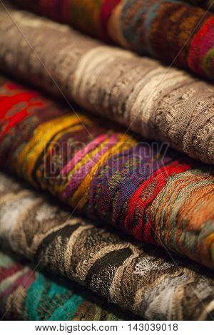 Image of wool  scarfs in a asian market.