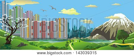 Panorama. Landscape - the view from the hill at the modern Asian city. Sakura. The volcano. Vector illustration