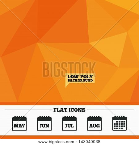 Triangular low poly orange background. Calendar icons. May, June, July and August month symbols. Date or event reminder sign. Calendar flat icon. Vector