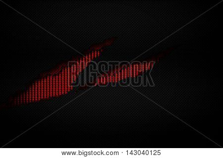 black and red carbon fiber tear on the red metallic mesh. background and texture. 3d illustration.