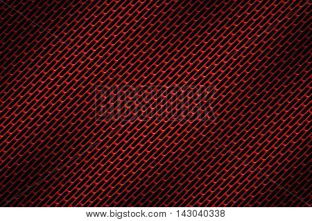 red chrome grille. metal background and texture. 3d illustration.