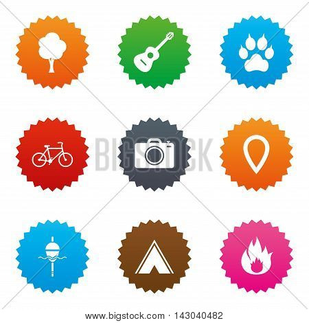 Tourism, camping icons. Fishing, fire and bike signs. Guitar music, photo camera and paw with clutches. Stars label button with flat icons. Vector
