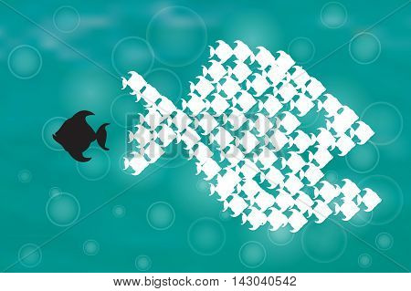 One black unique different fish swimming opposite way of identical white ones. Teamwork, Courage, confidence, success, crowd and creativity concept. Think different design, vector illustration eps10 graphic