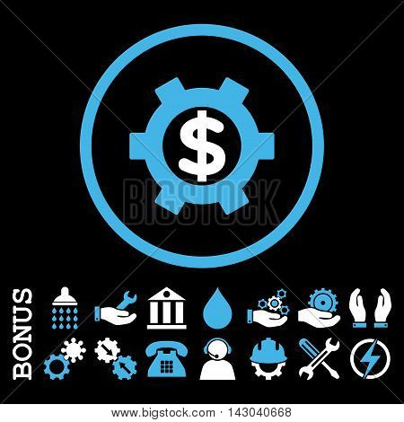 Financial Settings glyph bicolor icon. Image style is a flat pictogram symbol inside a circle, blue and white colors, black background. Bonus images are included.