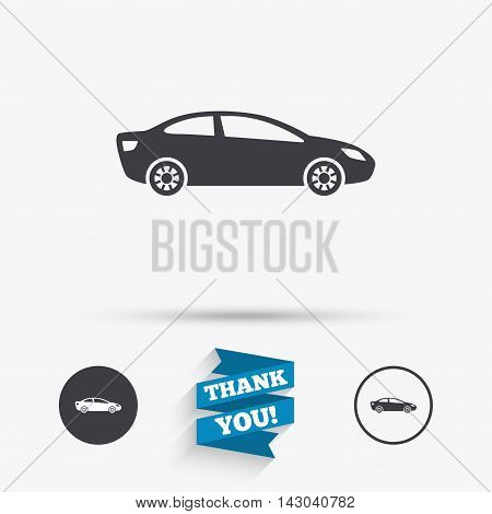 Car sign icon. Sedan saloon symbol. Transport. Flat icons. Buttons with icons. Thank you ribbon. Vector