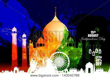 easy to edit vector illustration of Monument and Landmark on Indian Independence Day celebration Advertisement background