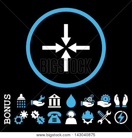 Impact Arrows glyph bicolor icon. Image style is a flat pictogram symbol inside a circle, blue and white colors, black background. Bonus images are included.