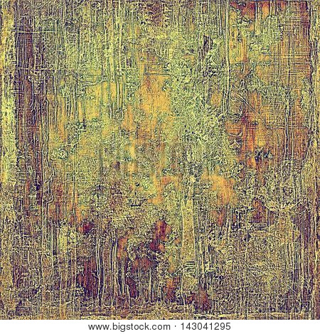 Vintage texture or antique background with grunge decorative elements and different color patterns: yellow (beige); brown; green; red (orange); purple (violet); gray
