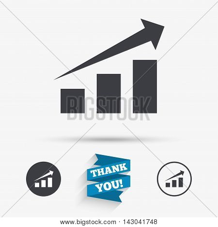 Chart with arrow sign icon. Success diagram symbol. Statistics. Flat icons. Buttons with icons. Thank you ribbon. Vector
