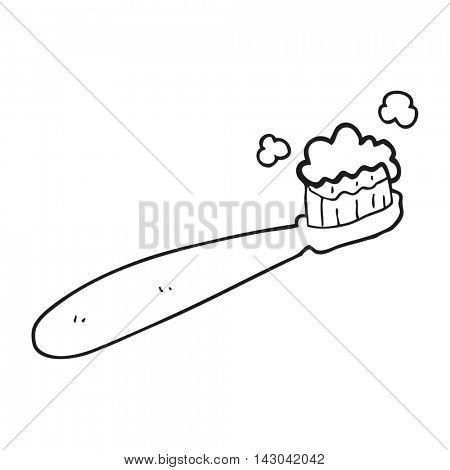 freehand drawn black and white cartoon toothbrush