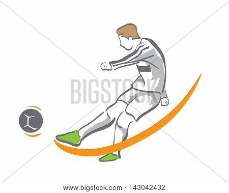 Modern Soccer Player In Action Logo - Golden Chance Goal Kick