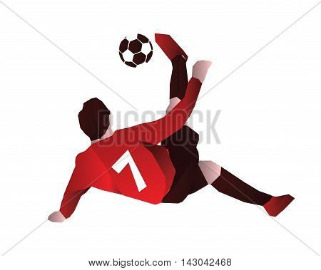 Modern Soccer Player In Action Logo - Bicycle Kick For No.7