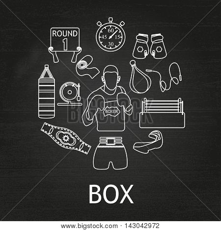Boxing white linear icons set on chalkboard background, boxer figure,  Vector illustration