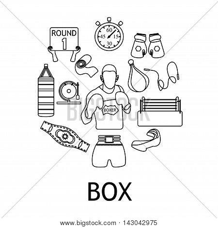 Boxing black linear icons set on chalkboard background, boxer figure,  Vector illustration