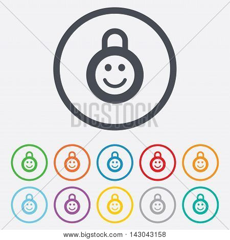 Child lock icon. Locker with smile symbol. Child protection. Round circle buttons with frame. Vector