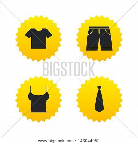 Clothes icons. T-shirt and bermuda shorts signs. Business tie symbol. Yellow stars labels with flat icons. Vector