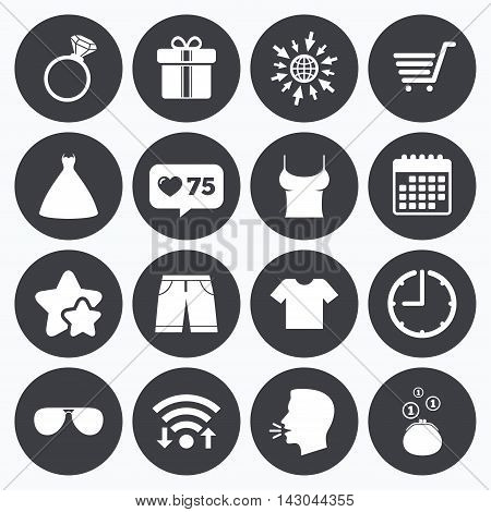 Calendar, wifi and clock symbols. Like counter, stars symbols. Clothes, accessories icons. T-shirt, sunglasses signs. Wedding dress and ring symbols. Talking head, go to web symbols. Vector