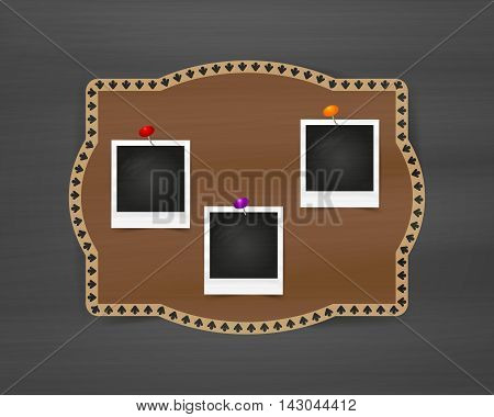 Old empty realistic photo frame on bulletin board  with transparent shadow on chalkboard background. Border to family album. Vector illustration for your design and business.
