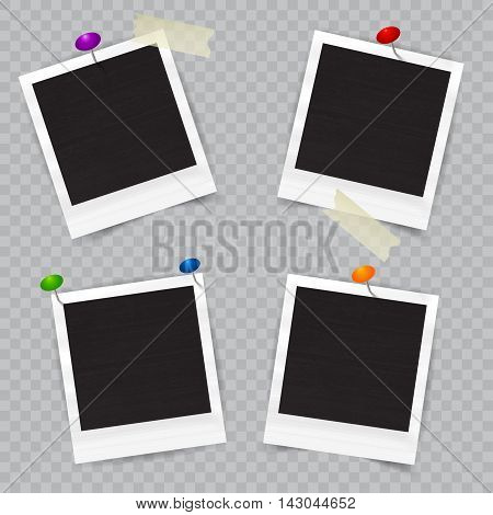 Old empty realistic photo frame with transparent shadow on checkered background. Border to family album. Vector illustration for your design and business.