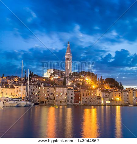 Coastal town of Rovinj Istria Croatia in sunset. Romantic Rovinj is a town in Croatia situated on the north Adriatic Sea Located on the western coast of the Istrian peninsula.