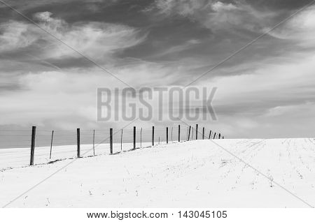 Dramatic Sky and Snow Scene in B&W